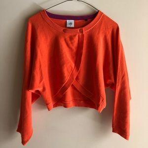 CAbi Orange Overlap Cropped Sweater - Med